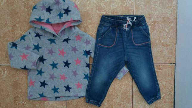 Стильный комплект: красивая флисовая теплая кофта флиска джинсы узкачи