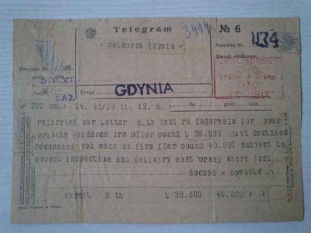 telegram Gdynia 1938 rok Gdynia - image 1