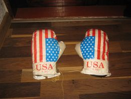Боксёрские перчатки, кожзам, подростковые.