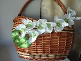 Пасхальный декор для корзины, цветы из ленты, орхидея
