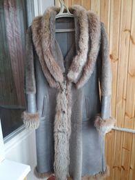 Дубленка натуральная мутон овчина шуба пальто с песец