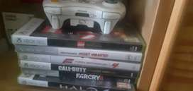 Xbox 360 and games and a controller