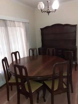 Imbuia round 8 seater dining room table AND buffet FULL SET