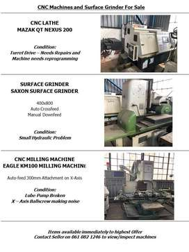CNC Machines and Surface Grinder For Sale