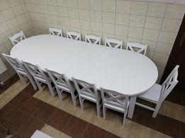Stół okrągły rozkładany z podpórką o śr.110 cm +4x45 wklady 10 krzeseł