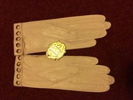 Перчатки свадебные нарядные кожаные женские белые новые