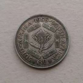 1955 S.A silver sixpence coin
