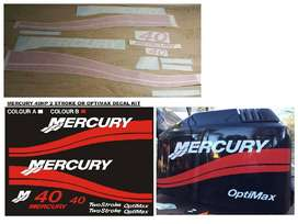 Mercury 40 outboard motor cowl stickers decals kits