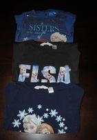 31->3szt bluzeczka ELSA ANNA Kraina Lodu Frozen H&M r.110/116 4-6Y