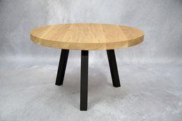 Stolik kawowy dębowy okrągły stal dąb loft skandynawski nowoczesny