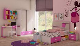 Meble dla dziewczynki RÓŻOWE do pokoju dziewczynek łóżko szafa biurko