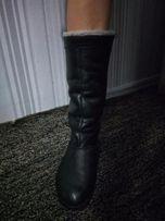 сапоги кожа зимние сапожки ботинки полусапожки черные низкий ход