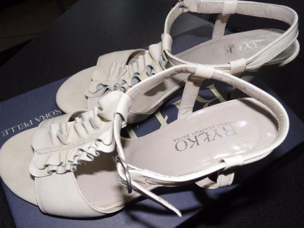 Skórzane buty kremowe, r.36,5, Ryłko Rybnik - image 4