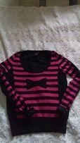 Sonia Rykiel dla H&M Sweterek w różowo-czarne pasy z kokardą rozm.M