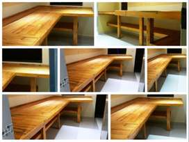 Work bench Farmhouse series 3950 L-shape with shelf Stained