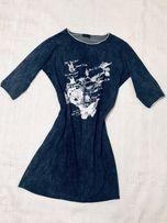 Sukienka granatowa jeans r. 42/44 XL/XXL