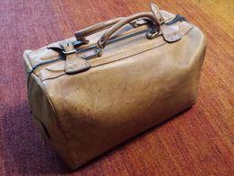 duża torba podróżna- naturalna skóra- vintage industrialny PRL drabina