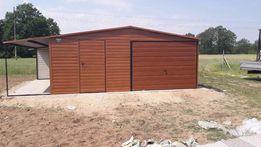 Garaż blaszany garaże blaszak 6x6 + 1.5m wiaty Dąb poziom PRESTIGE