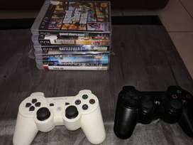 2 PS3 CONTROLS AND 6 GAMES