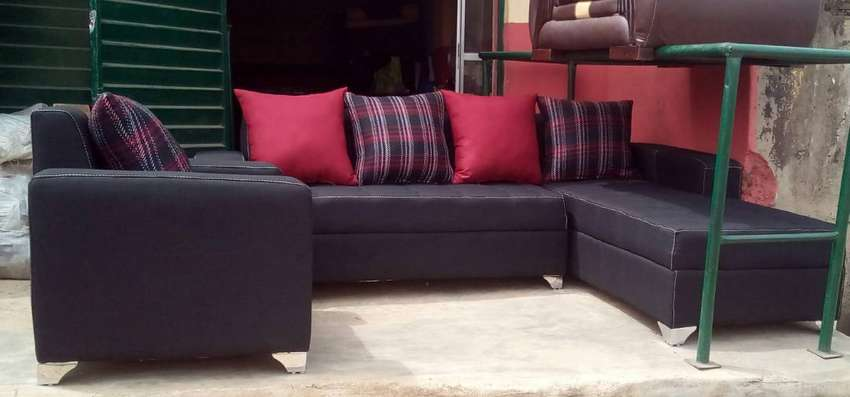 Set of Sofa chair, couch. L-shape and a single seater. Black fabric 0