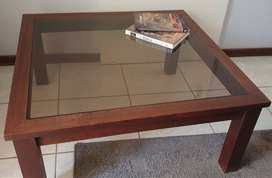 Mahogany and glass coffee table