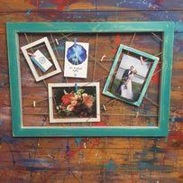 Деревянная рамка для фото без стекла на прищепках