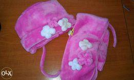 Шапка и шарф для девочки, на девочку, комплект, розовый, розовая