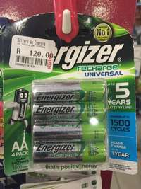 Image of energizer Aa 4pack 1500mah rechargeable batteries.