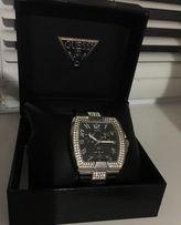 Часы наручные женские крутые Guess оригинал хронограф кожа ремешок
