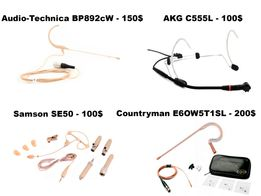 гарнитура AKG C555L, Countryman, Audio-technica, Samson SE 50 (хедсет)