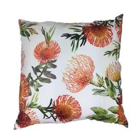 Orange Floral Cream Scatter Cushion Cover 60cm x 60cm