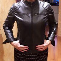 Włoska kurtka skórzana damska r.M czarna