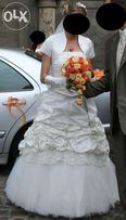 Suknia ślubna 36/38 jak nowa + ciepłe bolerko +dodatki gratis