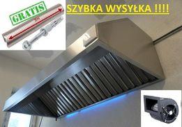 Okap Gastronomiczny 3000x700x400 Turbina FILTRY Rura 3m Wysyłka