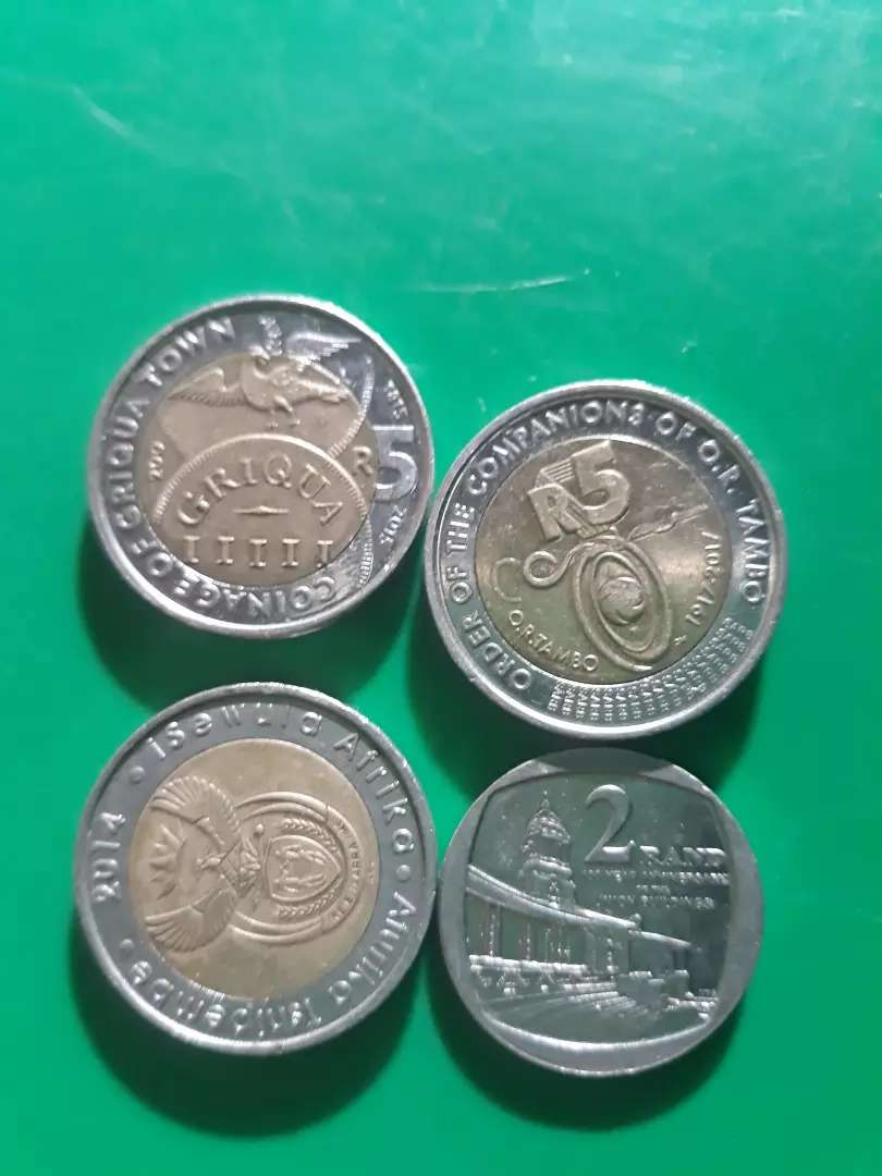 R5 coin O.R Tambo Qriqua 11111 and R2 hundred years of union Building 0