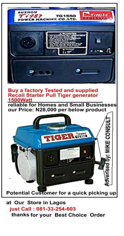 Sharp and New TG 1550 Tiger Generator For Sale 0