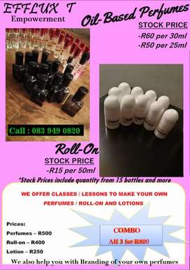 Start your business selling oil based Perfumes, Roll-on and Lotion