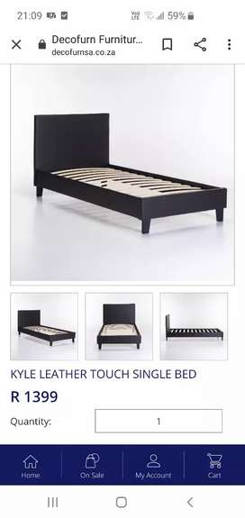 2x White leather touch sleigh beds (single)