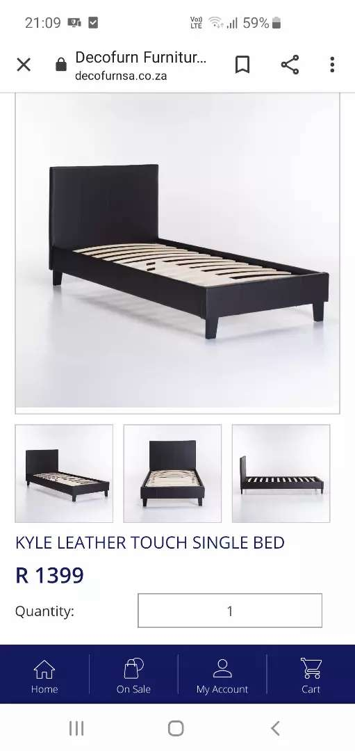 2x White leather touch sleigh beds (single) 0