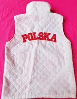 POLSKA.Biała,pikowana,lekka kamizelka/bezrękawnik dla małego kibica134