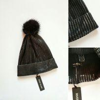 Красива шапка резинка с натуральным бубном фирменная River Island