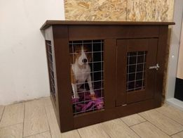 Будка для собаки, деревянная клетка-тумба с металлической решеткой для