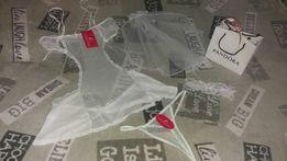 Panna Młoda ślub komplet bielizna haleczka+stringi+welon+podwiązka S