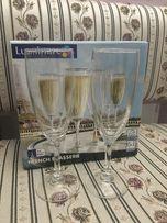 Бокалы для шампанского, фужеры, 6 шт. Фирма Luminarc.