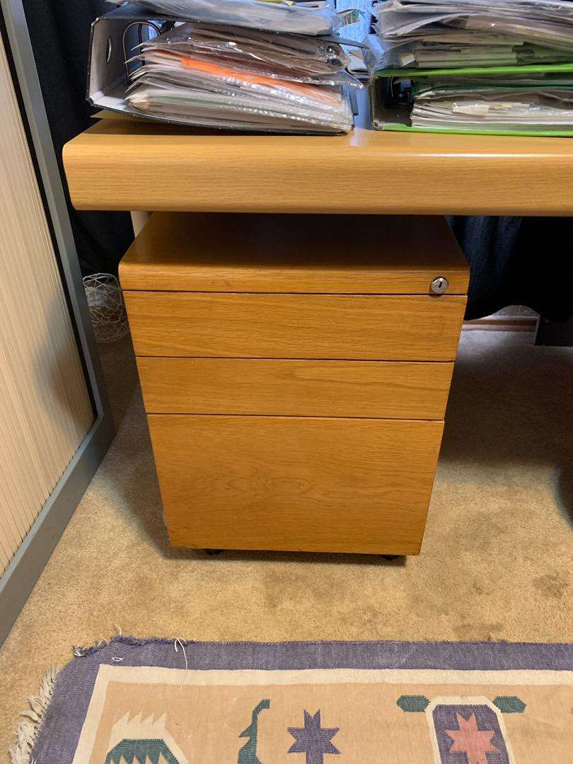 Anglo Dutch office desk, cupboard, credenza and chairs for sale 0
