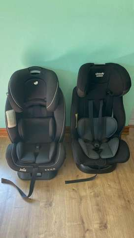 Two car seats and a camping cot for sale.