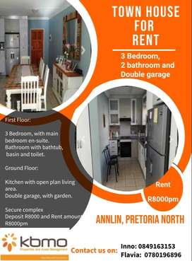 3 Bedroom, 2 bathrooms and double garage for rent R8000pm Pta Montana