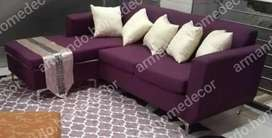 Purple fabric material corner couch