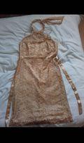 Sukienka złota choker na szyję