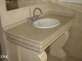 Мебель для ванной из мрамора, гранита, травертина и оникса